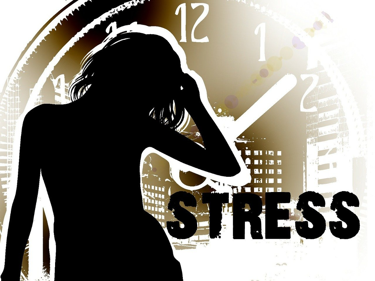 A silhouette of a woman is stress